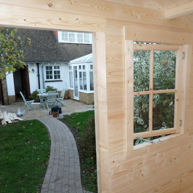9 x 9 Shire Avesbury Log Cabin - View from inside