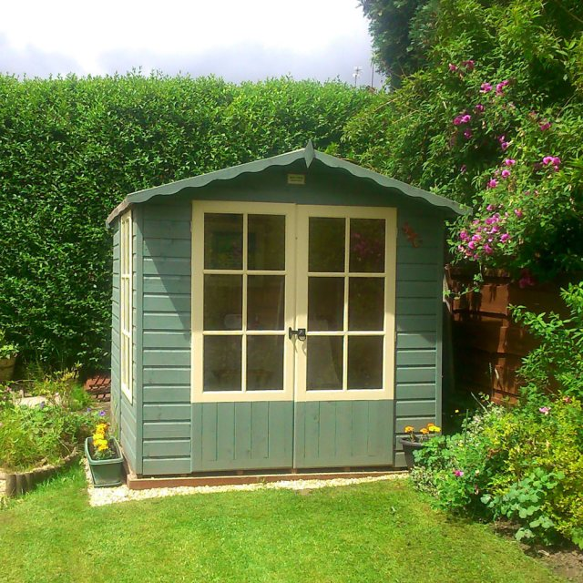 7 x 7 Shire Buckingham Summerhouse - Pressure Treated - painted showing front elevation