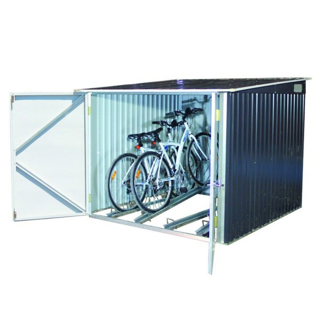 7 x 7 (2.03m x 2.02m) Emerald Metal Bicycle Store(Anthracite)