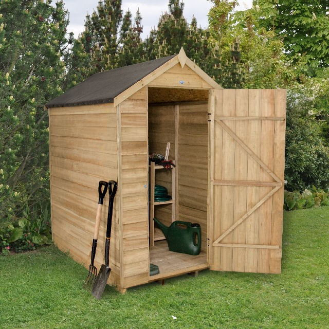 6 x 4  (1.75m x 1.16m) Forest Overlap Pressure Treated Apex Shed