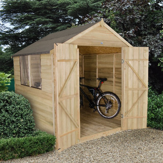 7 x 7 (2.07m x 2.06m) Forest Overlap Pressure Treated Apex Shed