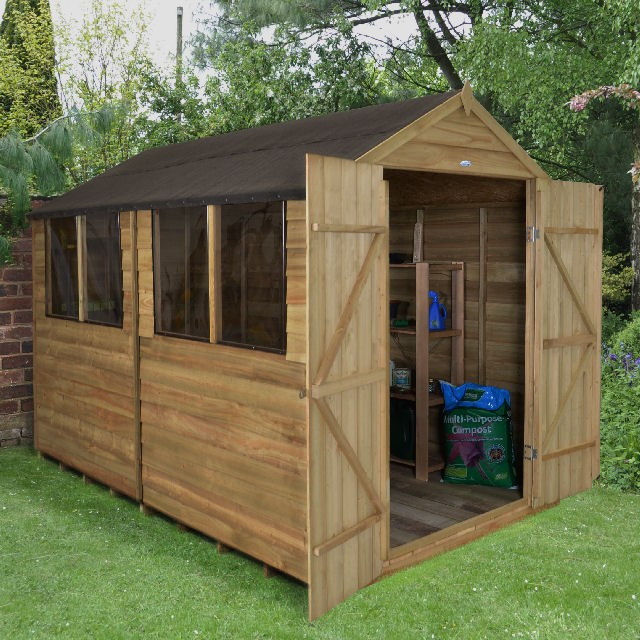 10 x 8 (3.09m x 2.48m) Forest Overlap Pressure Treated Double Door Apex Shed