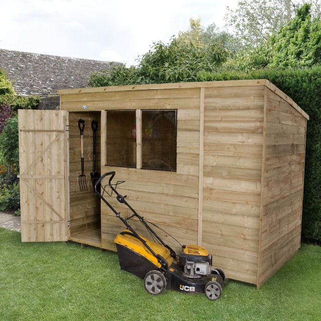 6 x 10 (1.75m x 3.05m) Forest Overlap Pressure treated Pent Shed