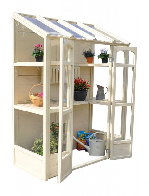 "4'10"" (1.47m) Wide Victorian Tall Wall Greenhouse - side elevation with doors open"