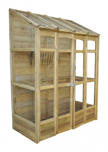 "4'10"" (1.47m) Wide Victorian Tall Wall Greenhouse - side elevation in natural finish"
