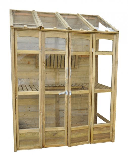 "4'10"" (1.47m) Wide Victorian Tall Wall Greenhouse - front view natural finish with doors closed"