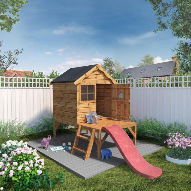 4 x 4 Mercia Snug Tower Playhouse with Slide - Painted and with side angle with door closed