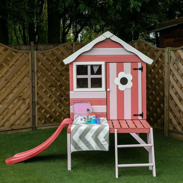 4 x 4 Mercia Snug Tower Playhouse with Slide - Full frontal view painted