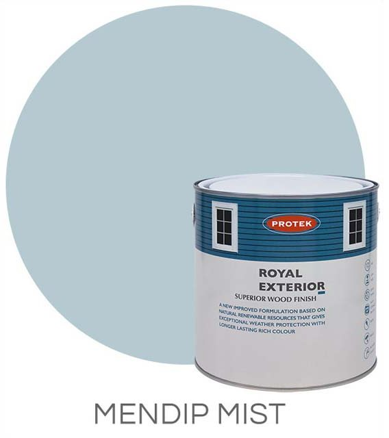 Protek Royal Exterior Paint 5 Litres - Mendip Mist  Colour Swatch with Pot