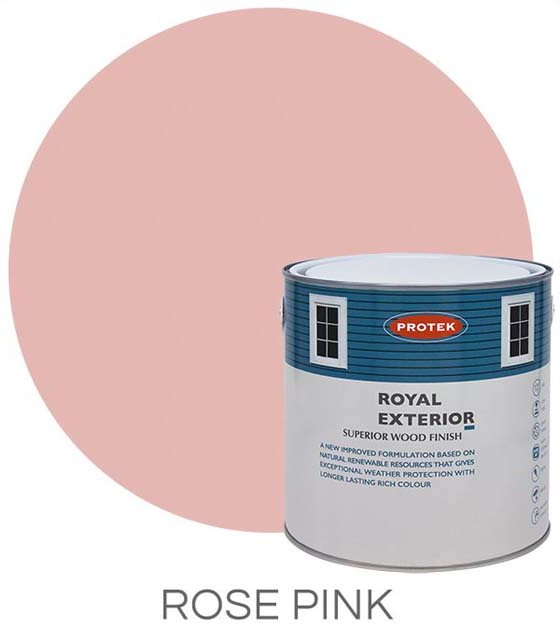Protek Royal Exterior Paint 5 Litres - Rose Pink  Colour Swatch with Pot