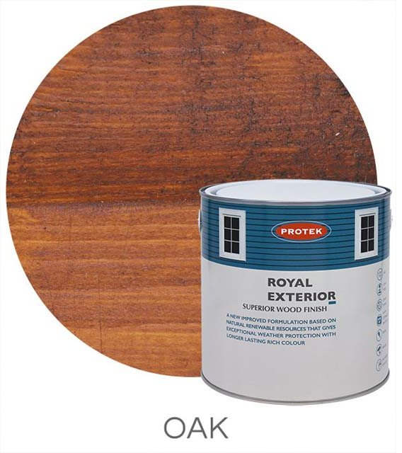 Protek Royal Exterior Paint 5 Litres - Oak Colour Swatch with Pot