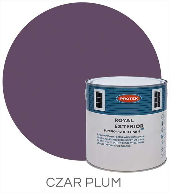 Protek Royal Exterior Paint 5 Litres - Czar Plum Colour Swatch with Pot