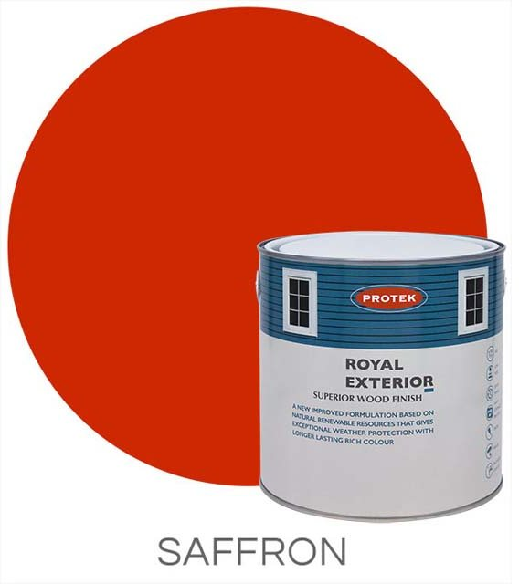 Protek Royal Exterior Paint 5 Litres - Saffron Colour Swatch with Pot