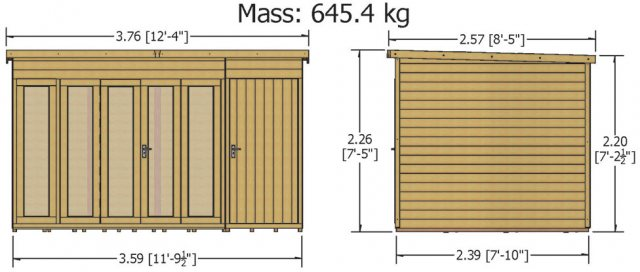 12x8 Shire Aster Summerhouse with Side Storage - dimensions