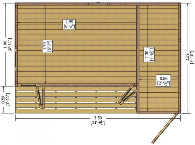 12x8 Shire Aster Summerhouse with Side Storage - floor plan