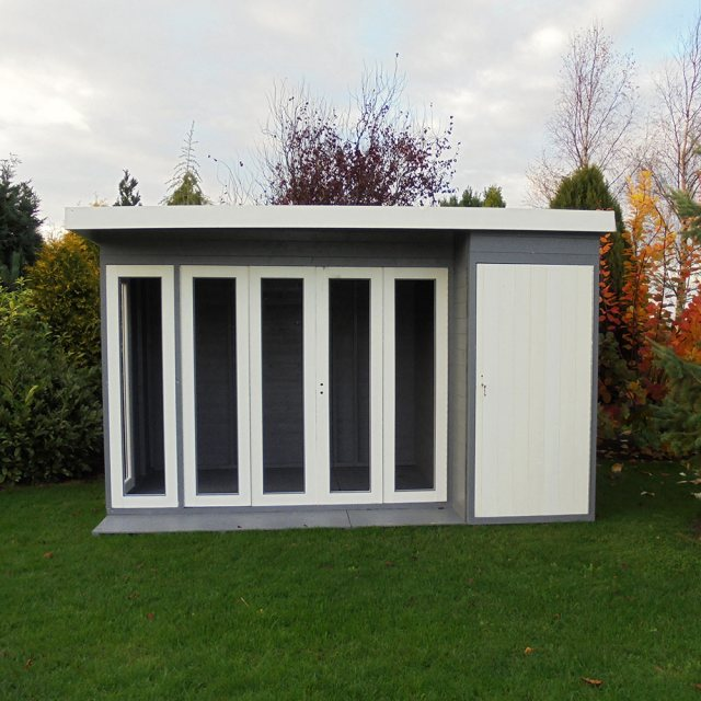 12x8 Shire Aster Summerhouse with Side Storage - painted with doors open