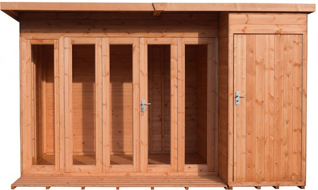 12x8 Shire Aster Summerhouse with Side Storage - natural and isolated front view