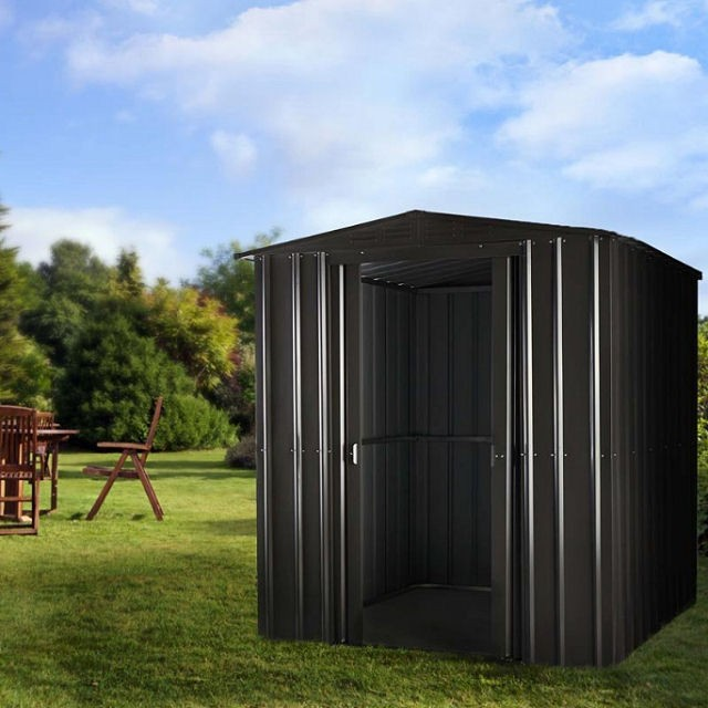 6 x 4 Lotus Apex Metal Shed in Anthracite Grey with doors open