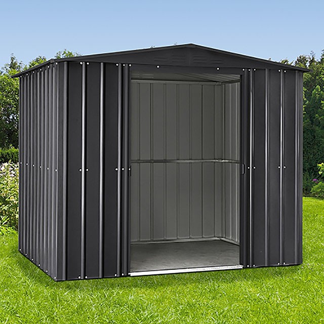8 x 5 Lotus Apex Metal Shed in Anthracite Grey