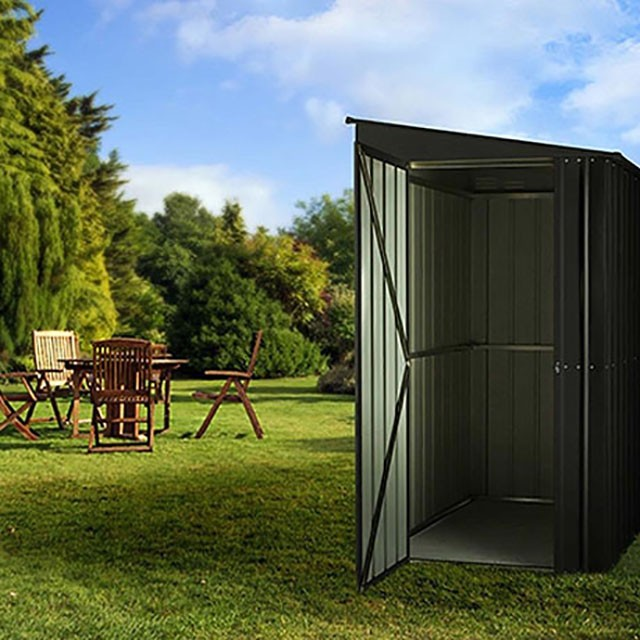 4 x 6 Lotus Lean-To Metal Shed in Anthracite Grey