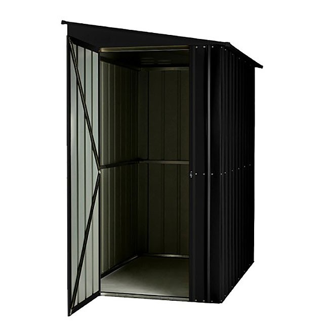 Isolated with of 4 x 6 Lotus Lean-To Metal Shed in Anthracite Grey with open door