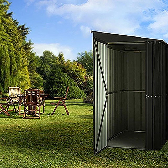 4 x 8 Lotus Lean-To Metal Shed in Anthracite Grey