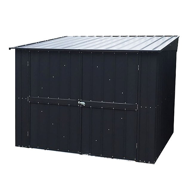 Isolated view of 6 x 6 Lotus Metal Bike Store in Anthracite Grey with doors closed