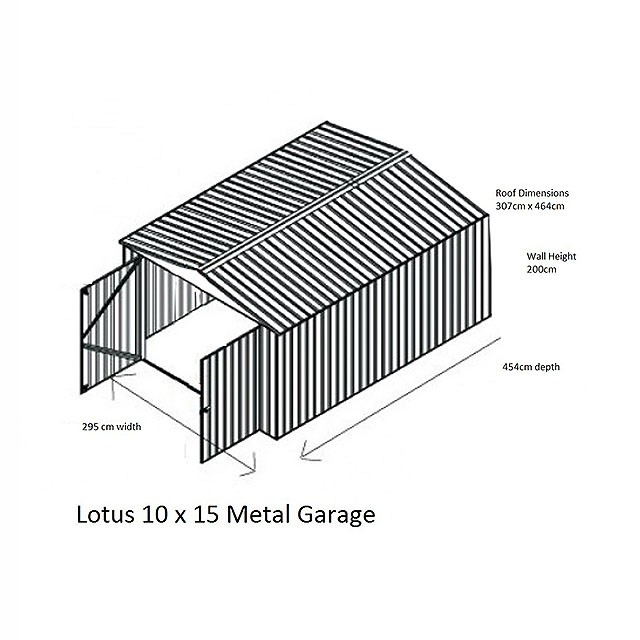 Dimensions of the 10 x 15 Lotus Apex Metal Garage in Anthracite Grey
