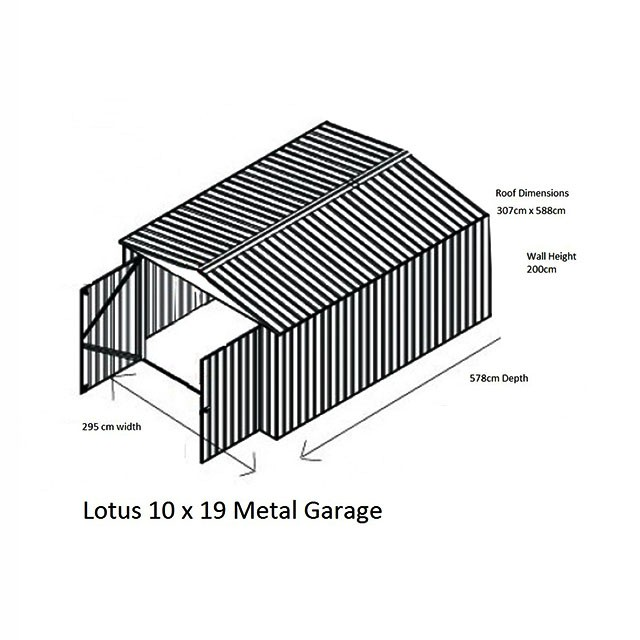Dimensions for 10 x 19 Lotus Apex Metal Garage in Anthracite Grey