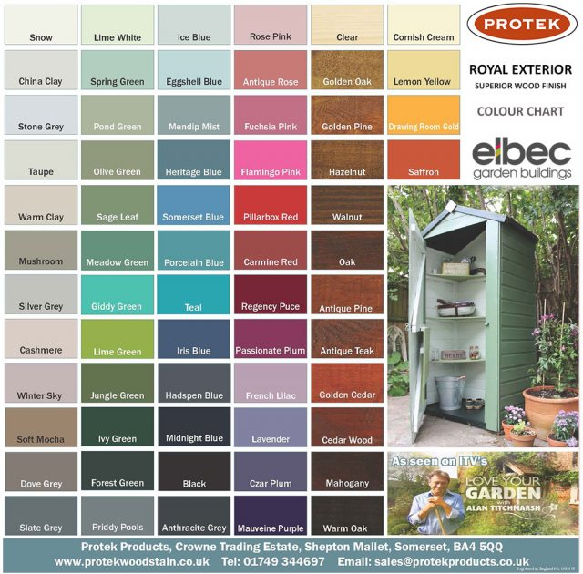 Protek Royal Exterior Paint 2.5 Litres - Antique Pine - Colour chart
