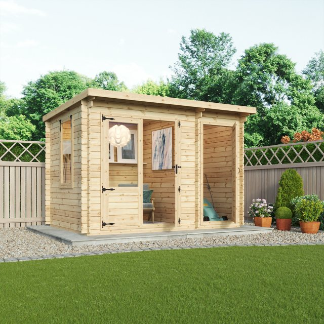 11G x 8 (3.5m x 2.4m) Mercia Delamere Log Cabin with Side Store 19mm Logs