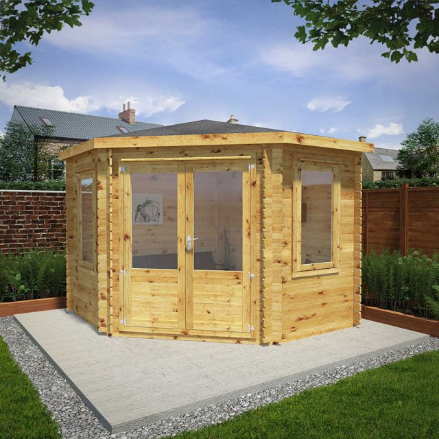 10 x 10 (3.0m x 3.0m) Mercia Corner Log Cabin 28mm Logs