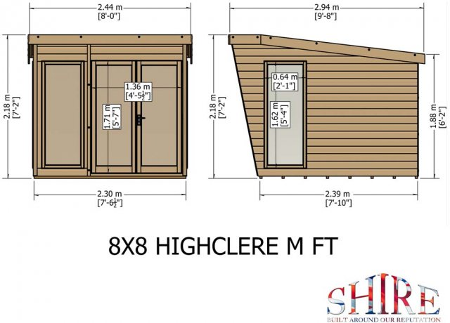 8 x 8 Shire Highclere Summerhouse - Elevation view