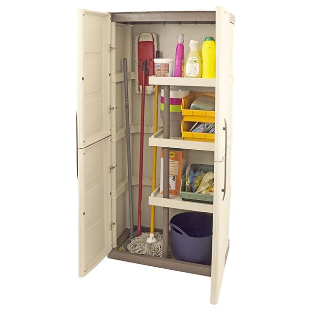 2 x 1 Shire Large Plastic Storage Cupboard with Shelves and Broom Storage with contents