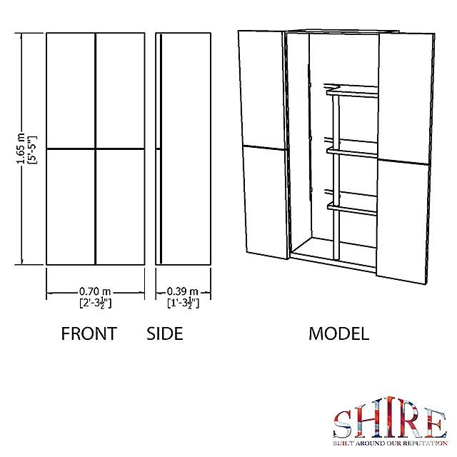 Dimensions of the Shire Large Plastic Storage Cupboard with Shelves & Broom Storage
