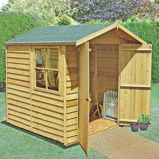 7 x 7 (1.98m x 2.05m) Shire Overlap Pressure Treated Shed - Double Door