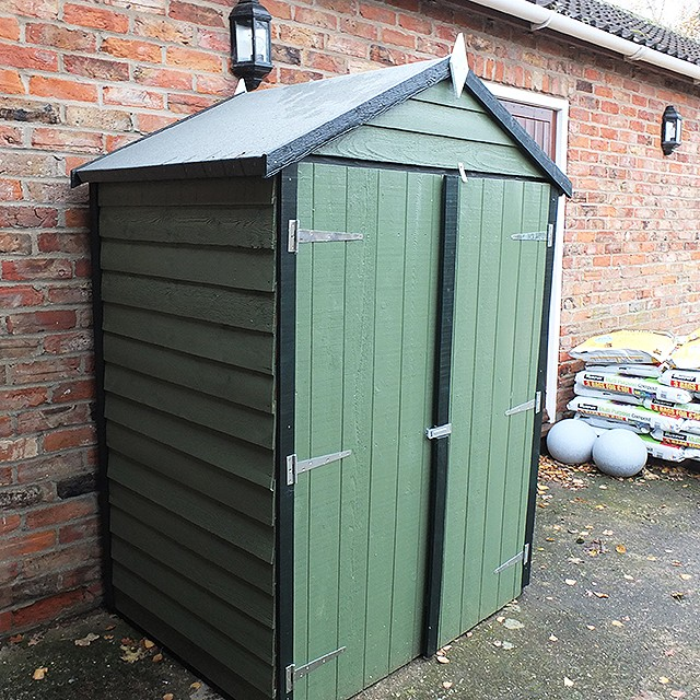 Three quarter view of 4 x 3 Shire Overlap Shed with Double Doors and Shelves - Windowless