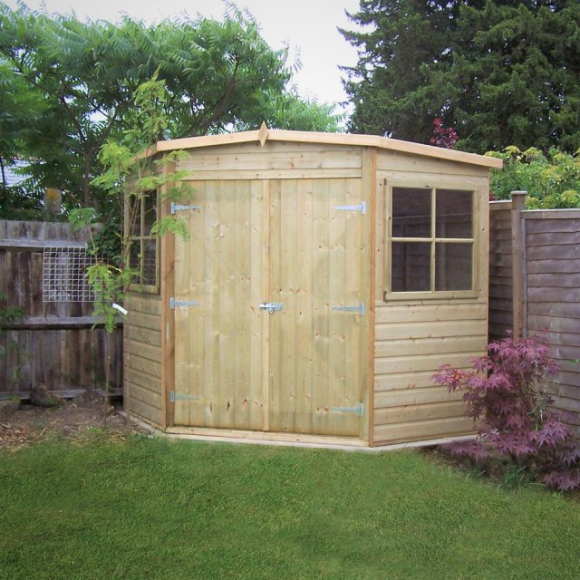 8 x 8 Shire Tongue and Groove Corner Shed - Pressure Treated