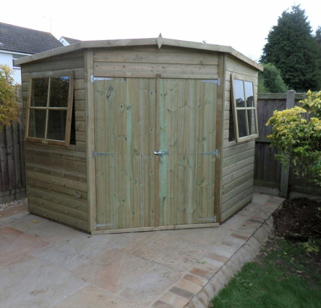 8 x 8 Shire Tongue and Groove Corner Shed - Pressure Treated - front with doors closed