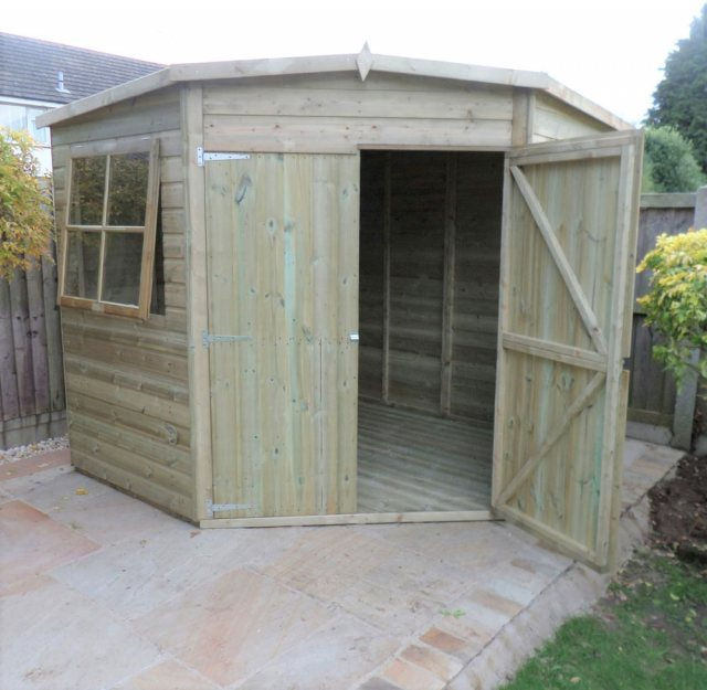 8 x 8 Shire Tongue and Groove Corner Shed - Pressure Treated - front elevation with one door open