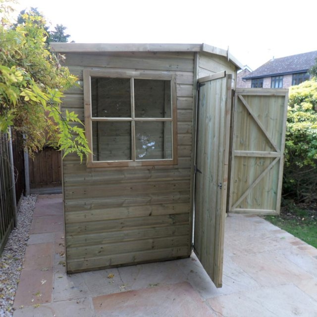 8 x 8 Shire Tongue and Groove Corner Shed - Pressure Treated - side elevation with both doors open