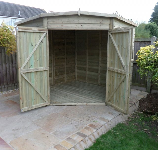 8 x 8 Shire Tongue and Groove Corner Shed - Pressure Treated - front elevation with both doors open