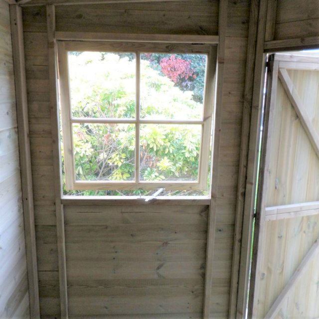 8 x 8 Shire Tongue and Groove Corner Shed - Pressure Treated - internal showing window open