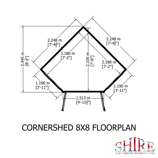 8 x 8 Shire Tongue and Groove Corner Shed - Pressure Treated- close up of proper profiled windows