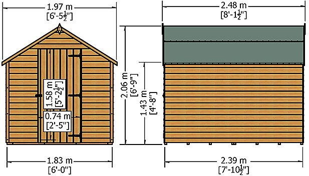 8 x 6 Shire Value Overlap Shed - Windowless - external dimensions