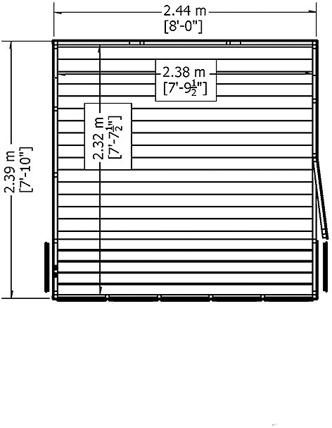 8 x 8 Shire Sun Pent Shiplap Potting Shed - base plan