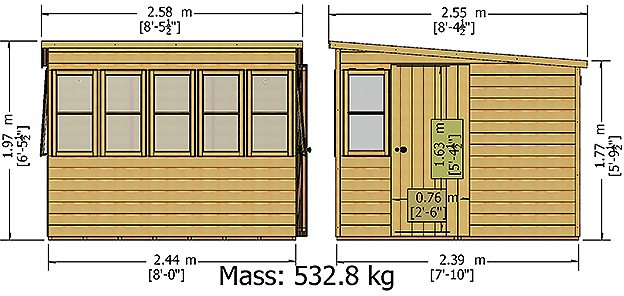 8 x 8 Shire Sun Pent Shiplap Potting Shed - dimensions