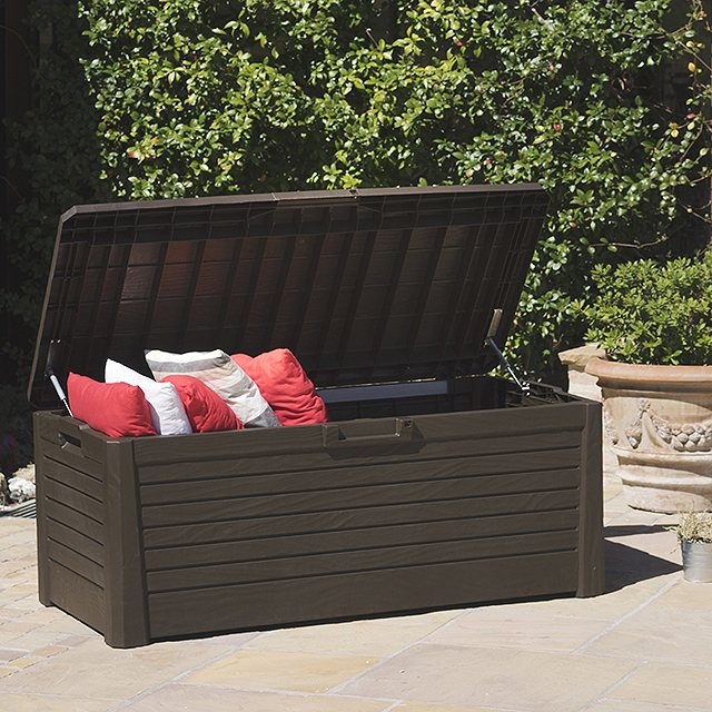 5 x 2 Forest 550 Litre Large Wood Effect Plastic Deck Box (Brown)