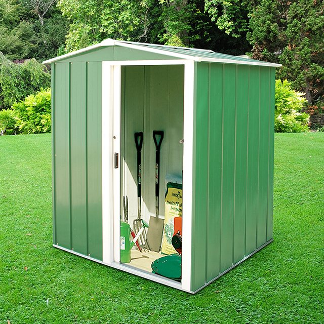 5 x 4 Sapphire Apex Metal Shed in Green
