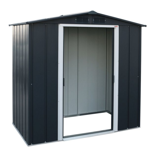 Sapphire 6 x 4 (1.92m x 1.12m) Sapphire Apex Metal Shed in Anthracite Grey